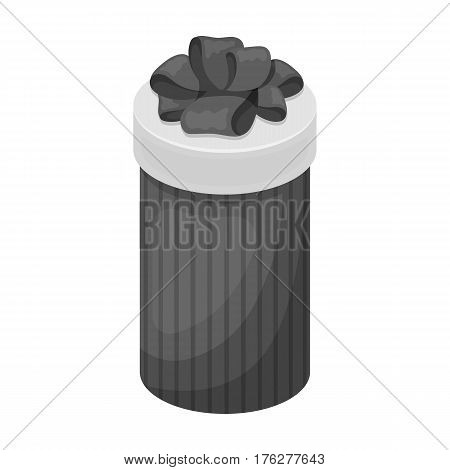 Brown box in the form of a cylinder. Gift wrapping for coffee.Gifts and Certificates single icon in monochrome style vector symbol stock web illustration.