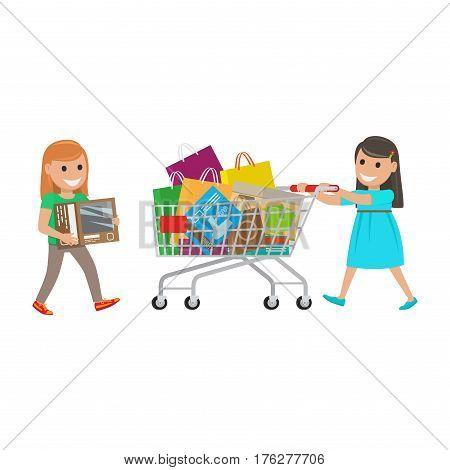 Two girls out on shopping. Redhead girl carries box and brunette girl push cart full of purchases on white background. Cartoon girls have fun during shopping. Vector illustration shopping collection.