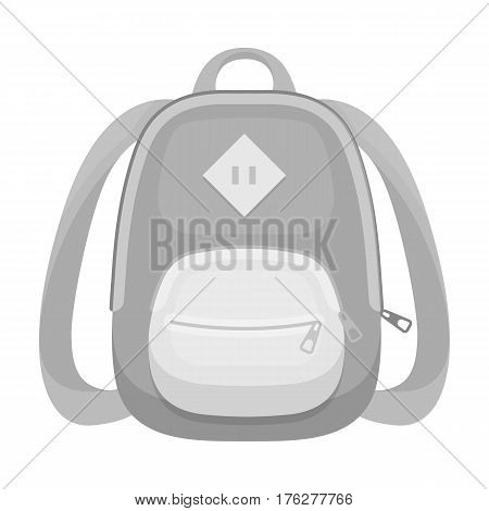 Blue school bag. A school bag for a book and notebooks.School And Education single icon in monochrome style vector symbol stock web illustration.