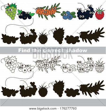 Cute sweet berries set with shadows to find the correct one. Compare and connect objects and their true shadows. Easy educational kid gaming. Simple level of difficulty. Logic game for children.