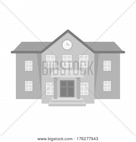 The main entrance of the institution . The school clock above the entrance.School And Education single icon in monochrome style vector symbol stock web illustration.