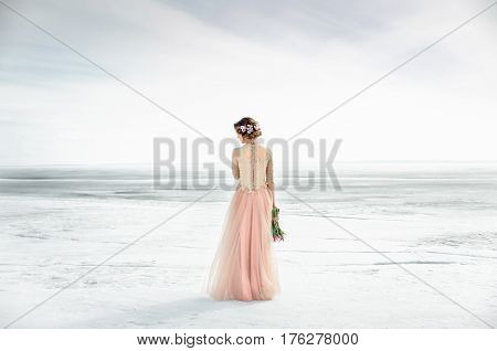 Wedding. Wedding By The Frozen Sea. Bride In Wedding Dress At The Seaside. In Love Wedding Ceremony.