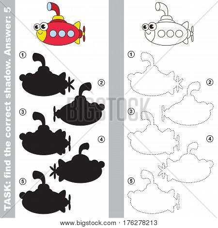 Submarine with different shadows to find the correct one. Compare and connect object with it true shadow. Easy educational kid gaming. Simple level of difficulty. Visual game for children.