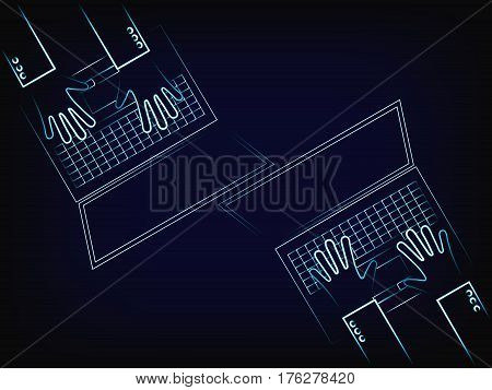 Vector Of Users Hands Typing On A Laptops