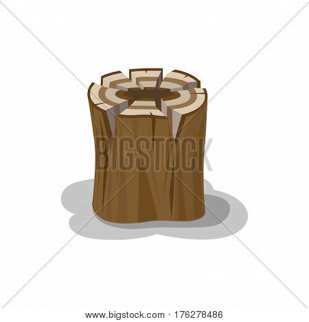 Wooden stump billet for bonfire isolated on white. Neatly stacked firewood with shadow elements to make fire. Natural materials that useful in hike, stub with traces of an ax ideal for making fire
