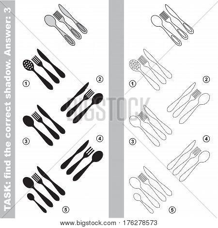 Utensils with different shadows to find the correct one. Compare and connect object with it true shadow. Easy educational kid gaming. Simple level of difficulty. Visual game for children.