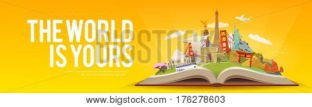 Travel to World. Road trip. Tourism. Open book with landmarks. Travelling vector banner. The World is Yours Modern flat design.