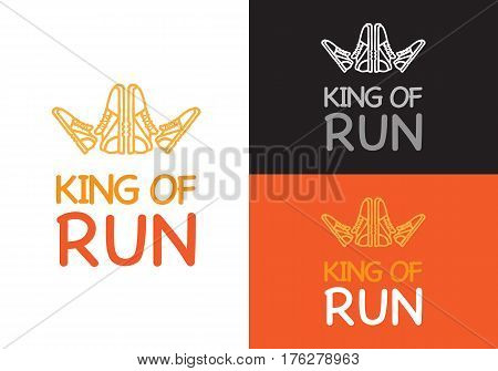 King of run on different background white, orange and black. Fitness keeps fit logo. Sneakers make crown for king logotype for sport lifestyle. Running is useful for your health vector illustration