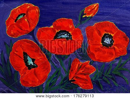 Hand painted picture oil painting red poppies.