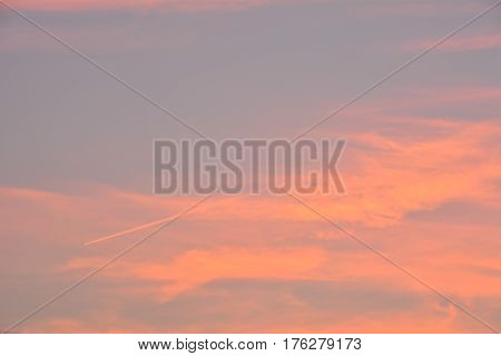 Sky and cloud clear orange sky with plain white cloud with space for text