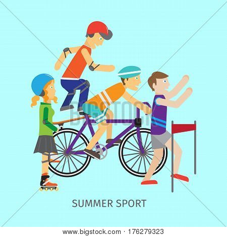 Summer sport vector concept. People in sportswear running, riding bike, skate rollers, skateboard. Victory in sport competition. Moving activity and healthy life. For sport concept, ad, web design