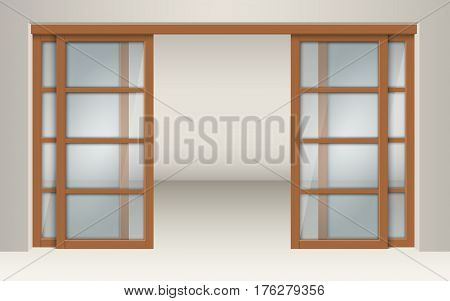 Sliding glass doors with wooden lintels. Fragment of the interior, a design element of the room.