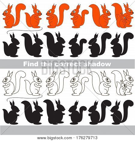 Squirrel set with shadows to find the correct one. Game to compare and connect objects and their true shadows.