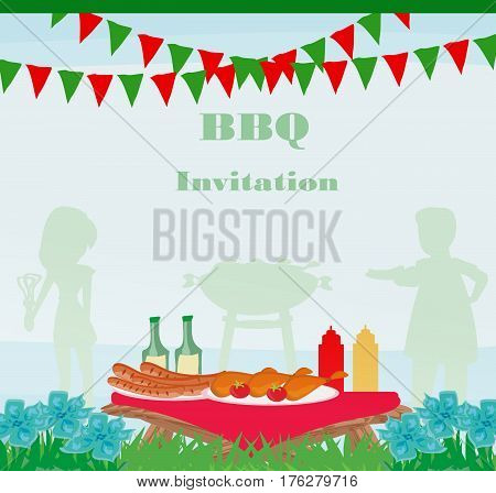 Barbecue Party Invitation card , vector illustration