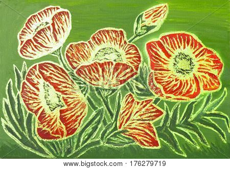 Red poppies with golden lines on green background oil painting with golden gouache luminescent paint with shining glossy effect.