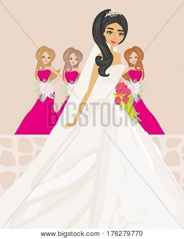 Bride in white dress with bridesmaids , vector illustration