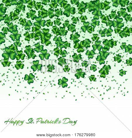 Pattern Saint Patrick Day with shamrocks and confetti falling down on white background