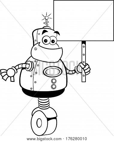 Black and white illustration of a robot holding a sign.