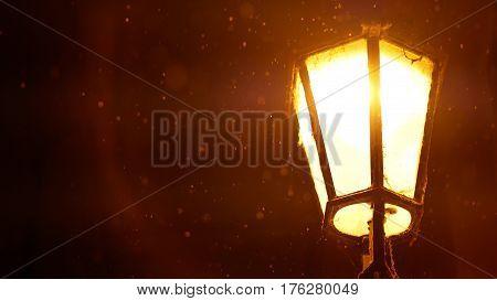 Vintage lantern at the night street. Hystoric building in Prague