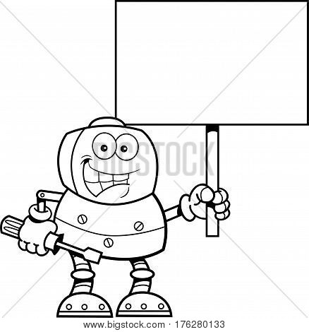 Black and white illustration of a robot holding a wrench and a sign.