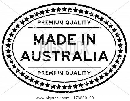 Grunge black premium quality made in Australia with star icon oval rubber stamp
