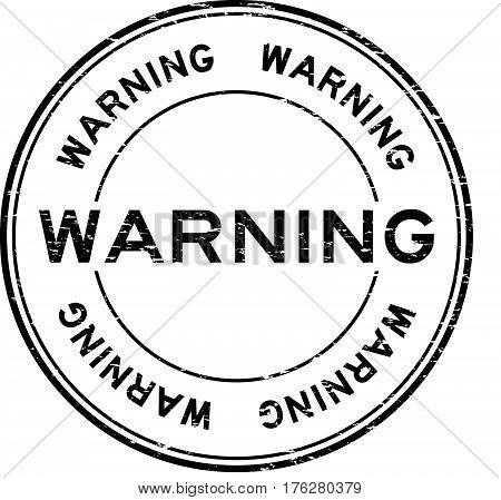 Grunge black warning rubber seal stamp on white background
