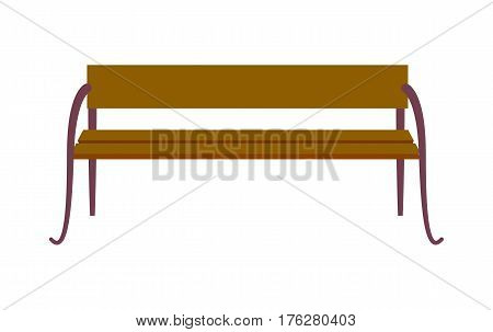 Wooden standard bench isolated on white background. Place for sitting consist of brown board and four steel legs vector illustration. Street ench is long seat on which several people may sit.