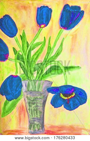 Hand painted picture watercolours vase with blue tulips.