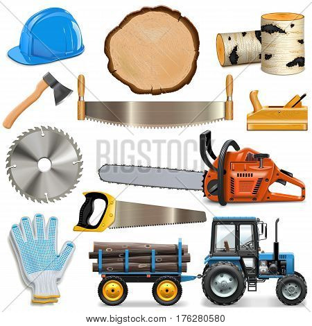 Vector Sawmill Icons isolated on white background
