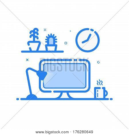 Vector illustration of blue icon in flat line style. Linear computer desk lamp, flowers. Graphic concept of work place design studio use in Web Project and Applications. Outline filled isolated object