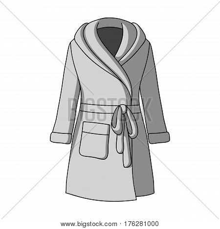 Green lady s gown after bath. Home clothes for women. Woman clothes single icon in monochrome style vector symbol stock web illustration.