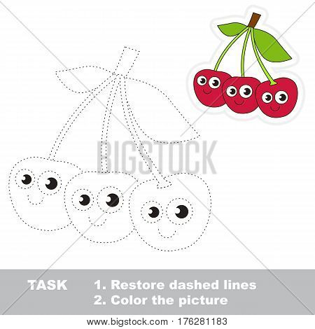 Page to be traced. Easy educational kid game. Simple game level. Gaming and education. Tracing worksheet for Three Cherries.