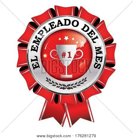 Empleado del Mes (Employee of the Month in Spanish language) - award ribbon. Print colors used