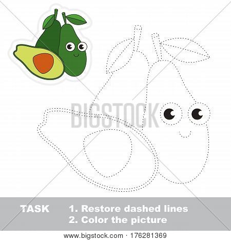 Green Avocado in vector to be traced. Easy educational kid game. Simple level of difficulty. Restore dashed line and color the picture. Trace game for children.