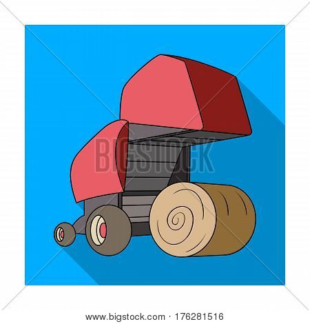 Round hay bales. Modern agricultural machinery for  of hay and rolling circles.Agricultural Machinery single icon in flat style vector symbol stock web illustration.