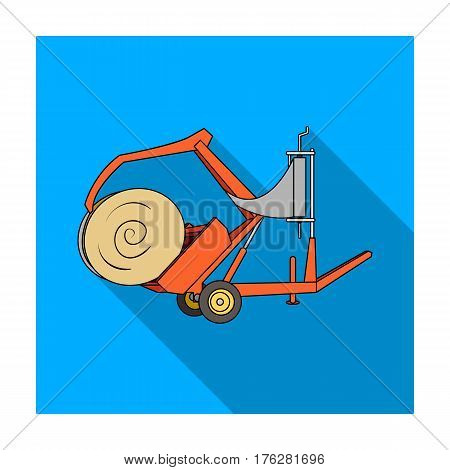 Modern agricultural machinery for  of hay and rolling circles.Agricultural Machinery single icon in flat style vector symbol stock web illustration.