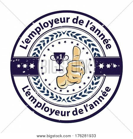 Employee of the Year in French Language (L'employe de l'annee) - printable label / label with thumbs up. French distinction for business purposes. Recognition gifts & appreciation gifts . Print colors