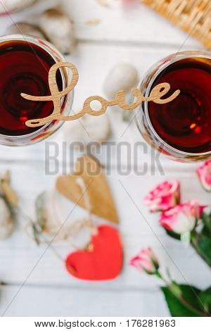 Letters Love On Glasses Of Wine