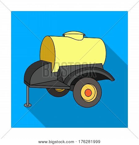 Black trailer on wheels with yellow barrel. Agricultural machinery for watering plants.Agricultural Machinery single icon in flat style vector symbol stock web illustration.