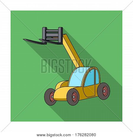 The car lift for loading cargo into the truck for transportation.Agricultural Machinery single icon in flat style vector symbol stock web illustration.