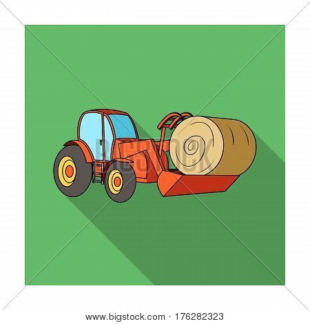 Orange tractor with a ladle transporting hay bale. Agricultural vehicles.Agricultural Machinery single icon in flat style vector symbol stock web illustration.
