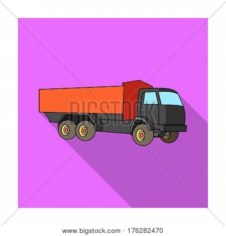Pickup rural truck. Tow auto. Truck with orange body for the transport of agricultural crops.Agricultural Machinery single icon in flat style vector symbol stock web illustration.