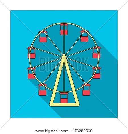 The wheel is in the amusement park. Slow attraction to explore the city.Amusement park single icon in flat style vector symbol stock web illustration.