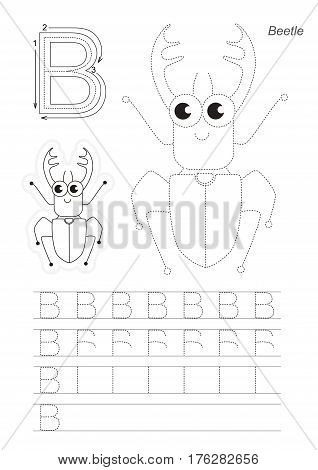 Vector illustrated worksheet. Learn handwriting. Gaming and education. Page to be traced. Easy educational kid game. Simple level. Complete eng alphabet. Tracing worksheet for letter B. Big bug.