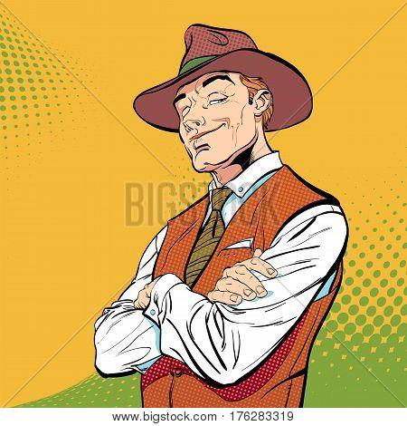 Happy cowboy. Cartoon character. Wild west Halftone background