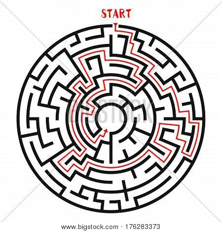 Circle Maze with Solution. Labyrinth with Entry and Exit. Find the Way Out Concept. Vector Illustration.