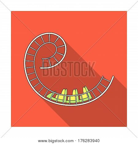 Roller coaster for children and adults. Dead loops, dangerous turns, terrible rides.Amusement park single icon in flat style vector symbol stock web illustration.