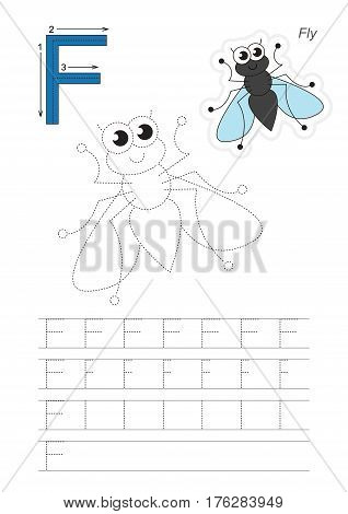 Vector illustrated worksheet. Learn handwriting. Gaming and education. Page to be traced. Easy educational kid game. Simple level. Complete eng alphabet. Tracing worksheet for letter F. Fly.