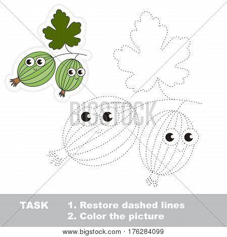 Page to be traced. Easy educational kid game. Simple game level. Gaming and education. Tracing worksheet for Gooseberry.