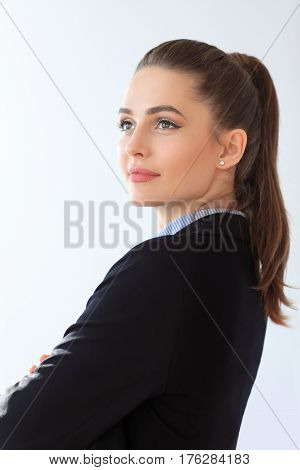 Portrait Of Confident Business Woman On White Background